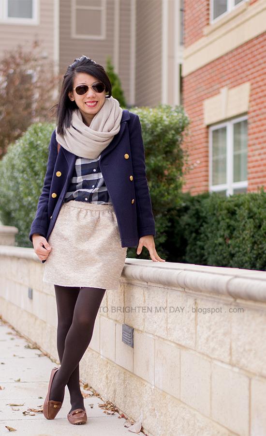 chunky knit scarf, plaid shirt, navy peacoat, gold tweed skirt