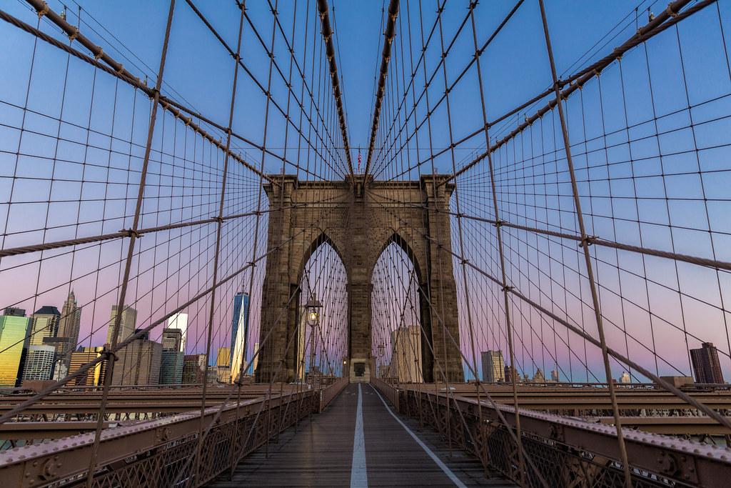 Brooklyn Bridge looking towards Manhattan