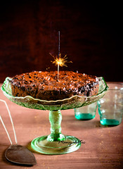 Rich fruit cake with flare light