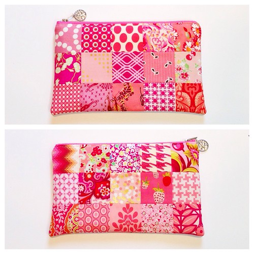 Pink patchwork pouch