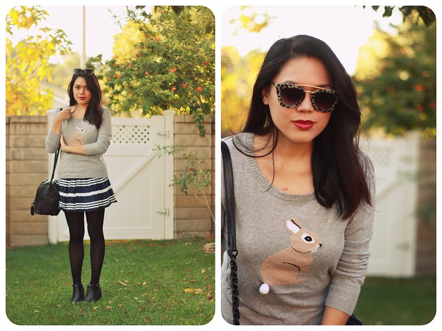 "Outfit Details: Gray rabbit sweater (Forever 21) | Navy blue striped mini skirt (Gilly Hicks) | Gray tortoiseshell sunglasses (in partnership with Dahlia) | Black tights | Black ""Olivia"" quilted leather satchel (Alice+Olivia) 
