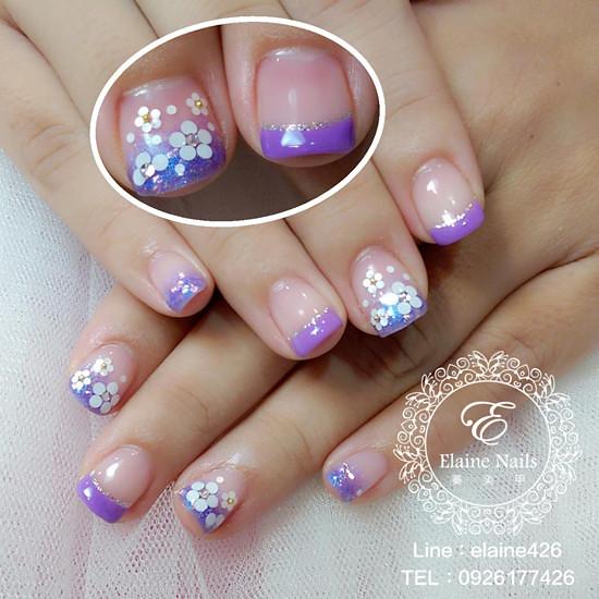 1031217紫色法式漸層璀璨小花