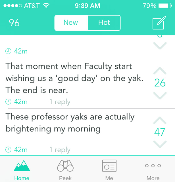 Professors engaging with students on Yik Yak