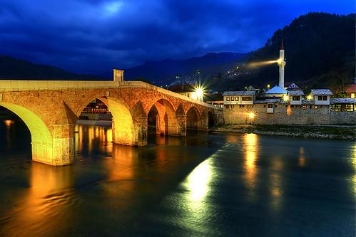 bridge minaret bosnia bluehour ottoman neretva hercegovina bosnie konjic