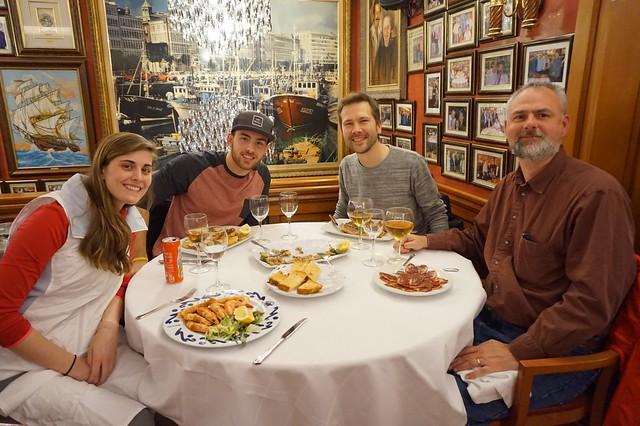 Lizzie, Josh, Malte, Rick at Salamanca restaurant in Barceloneta
