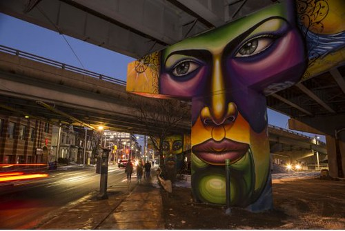 Corktown freeway underpass pylon murals, Toronto