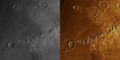 Moon_Before After_(2014_08_17)_1 月の写真の一部。左半分が画像処理の前。右半分が画像処理の後。