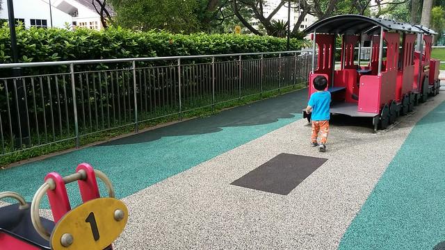 Jerome runs to the Choo Choo Train.