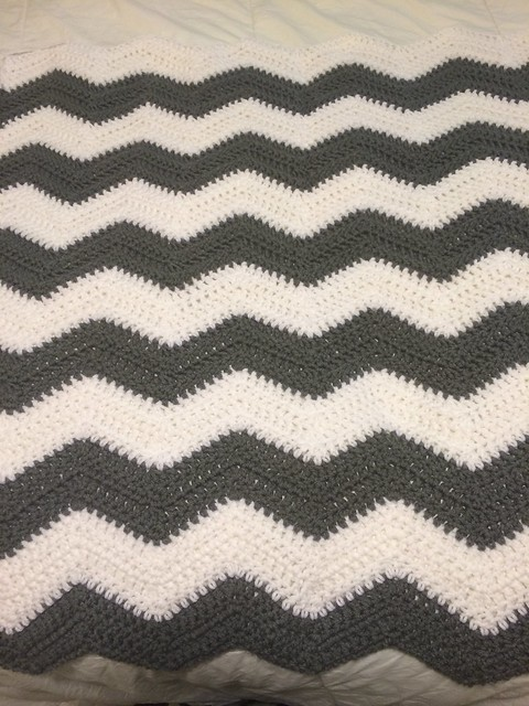 grey and white chevron baby blanket
