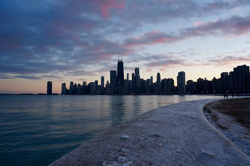 winter sunset lake chicago ice lakemichigan lakeshore lakefront northavenuebeach