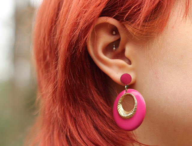 Hot Pink Round Retro Earrings and a Rook Piercing