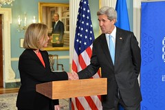U.S. Secretary of State John Kerry shakes hands with European Union High Representative Federica Mogherini after the counterparts addressed reporters at the U.S. Department of State in Washington, D.C., on May 4, 2016. [State Department photo/ Public Domain]