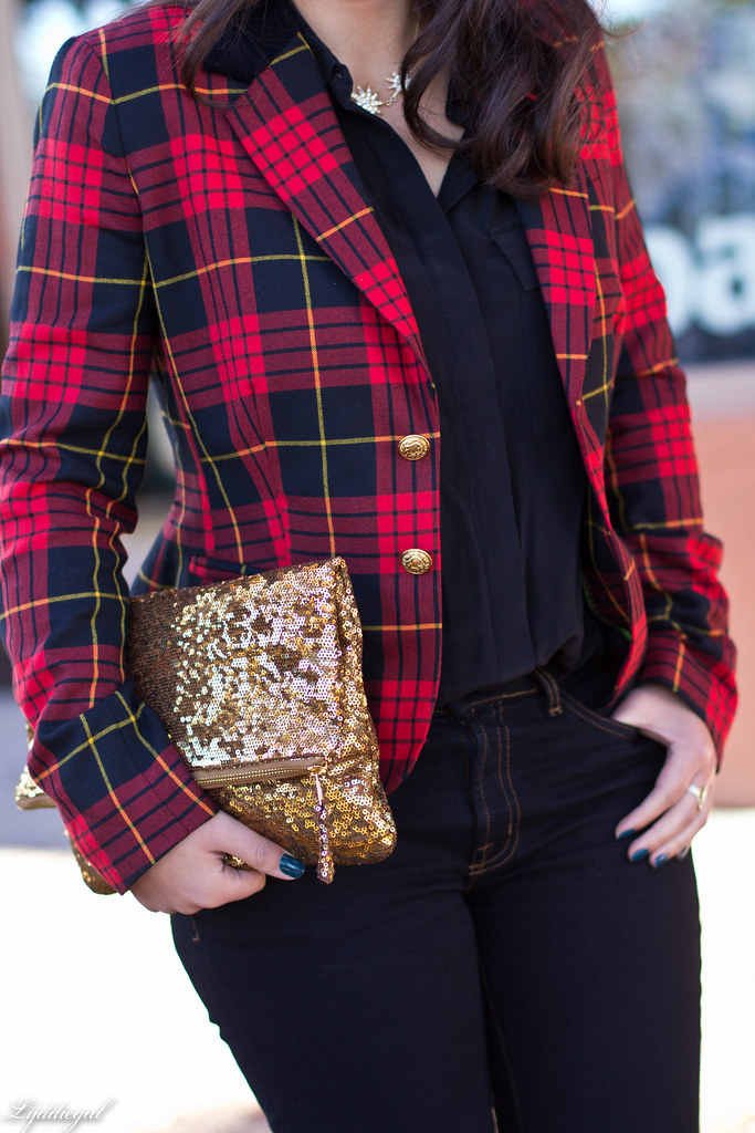 plaid blazer, flared jeans, sequined clutch-6.jpg