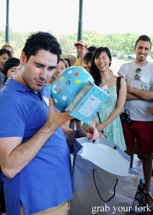 Piggy bank reveal during Evil Secret Santa at the Sydney Food Bloggers Christmas Picnic 2014 #sydfbxmas2014