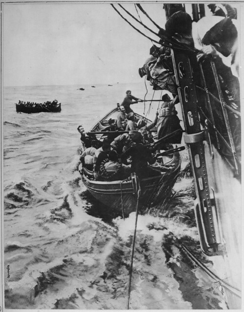 Image of Passengers being rescued from the Sontay in World War 1