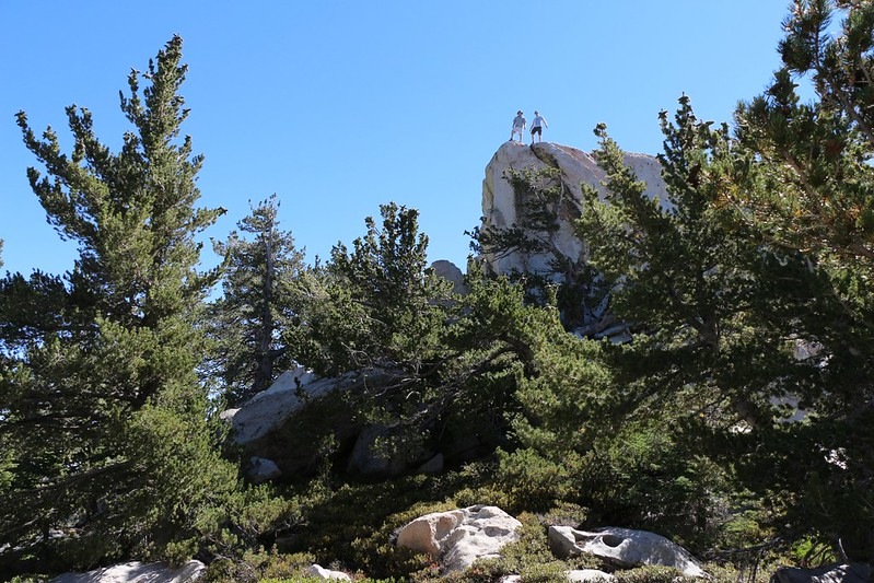 Climbing on some tall granite just beyond Castle Rocks