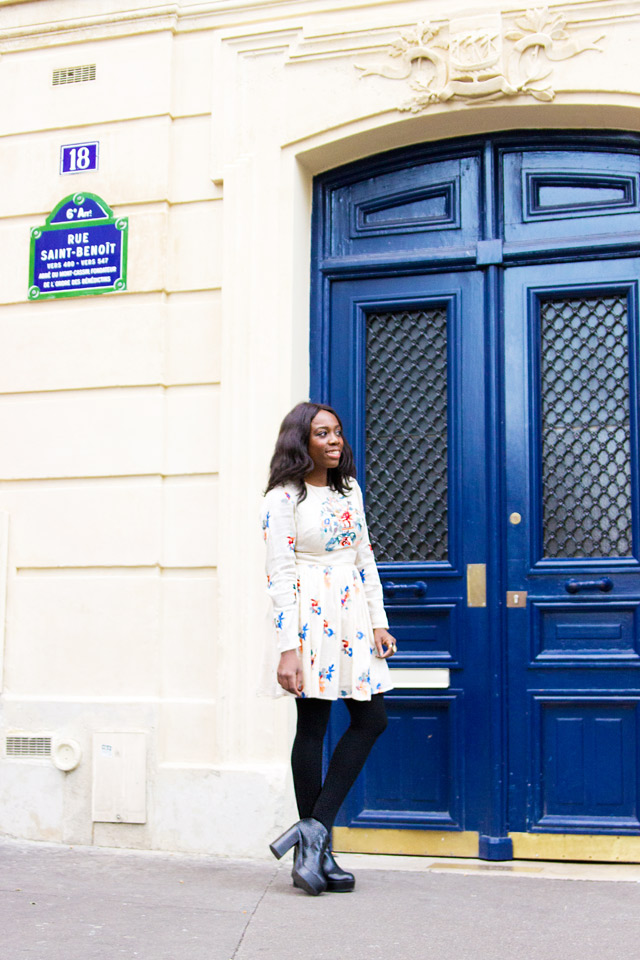 how to wear a pretty embroidered skater dress