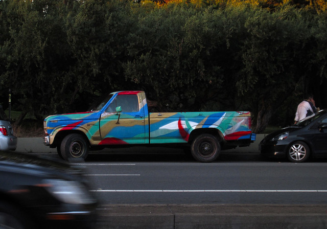 multicolored painted pick-up truck; Kezar Drive, San Francisco (2014)