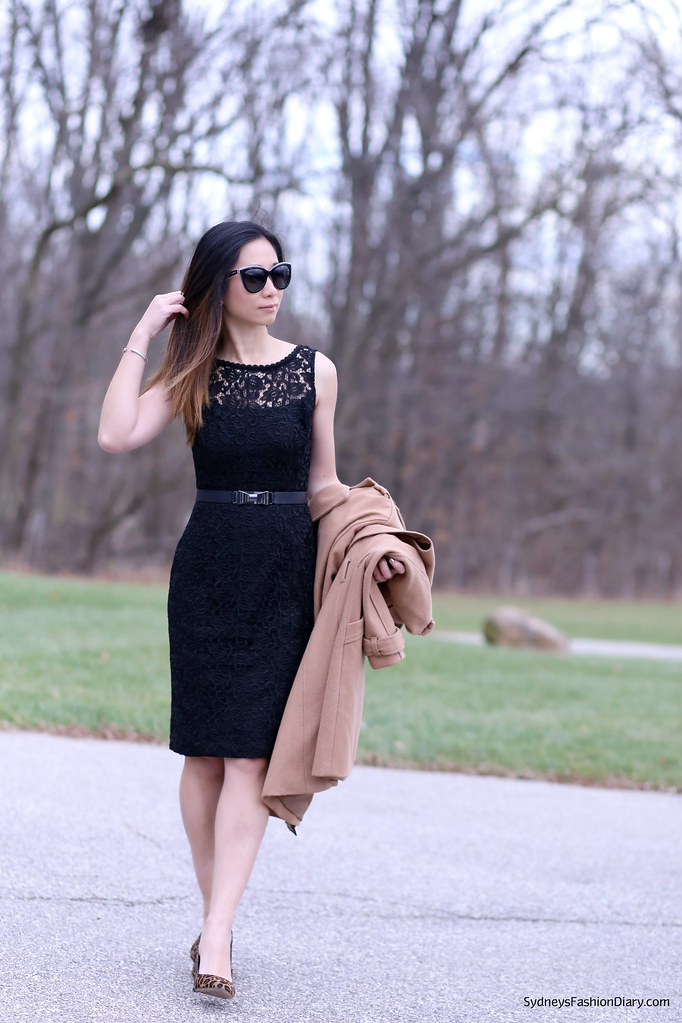 Black lace dress and leopard shoes