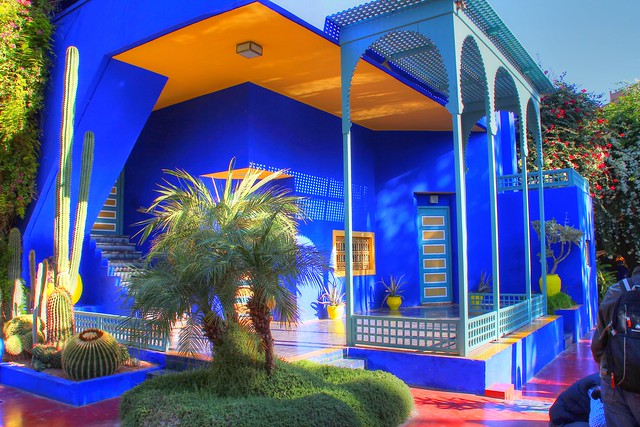 Jardin Majorelle Marrakesh, Marocco.  The French painter, Jacques Majorelle, lived in Marrakesh for over 40 years. His art is largely forgotten but the gardens that he designed are famous throughout the world.