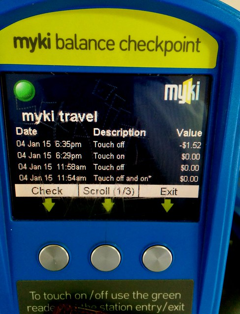 Myki check, showing $1.52 credit