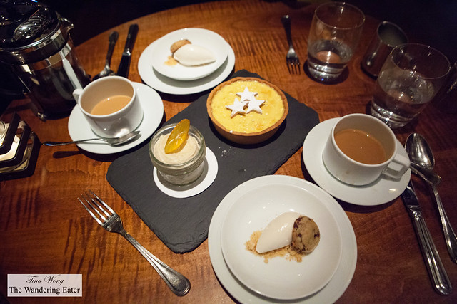 Our cups of La Pena Miel, Nicaragua coffee, hickory ice cream, and Orange Custard Pie for Two, Raisins, Clementine and Tea Sherbet