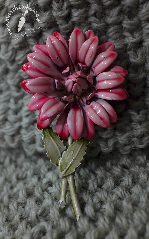 50s brooch, retro, vintage, broszka, emalia, kwiat