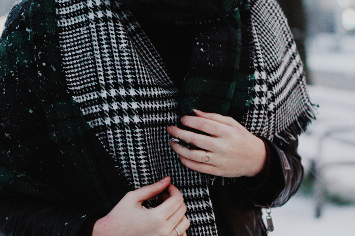 double faced plaid scarf, snow