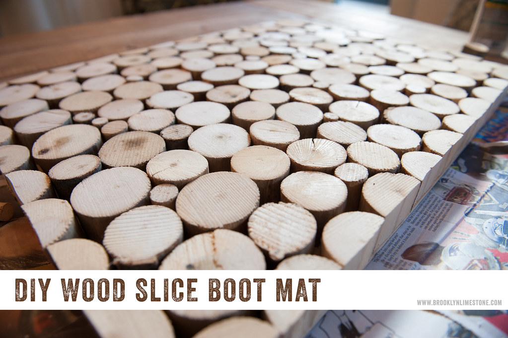 Finished shot of Wood Doormat boot tray made from wood slices sitting on a table