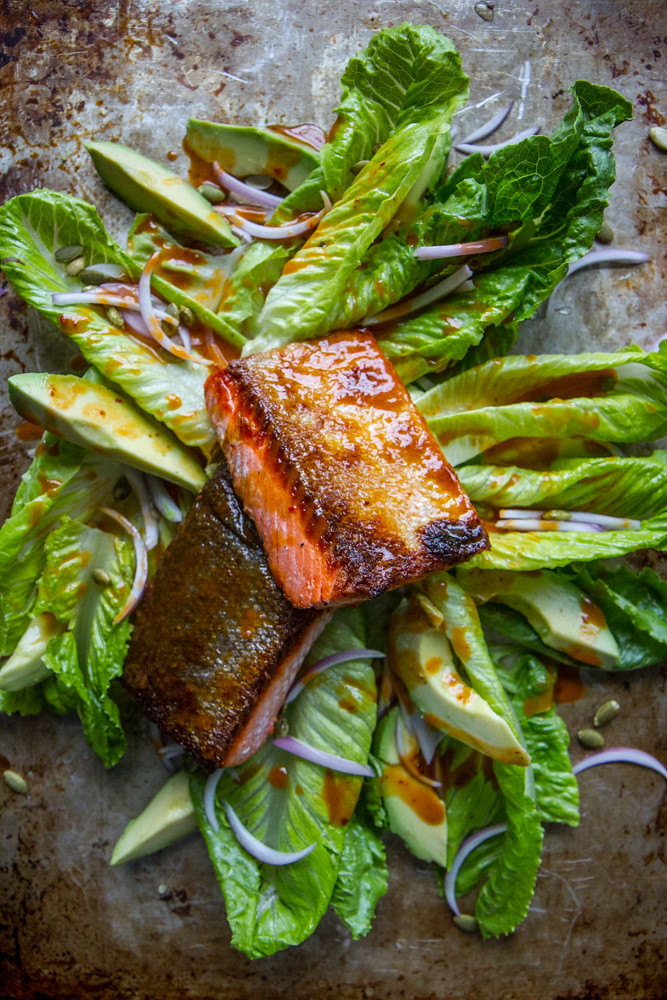 Crispy Slamon and Slaad with Honey CHipotle Vinaigrette
