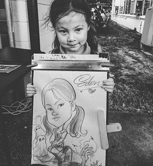 This was my most interesting request this little girl wanted to be drawn on a tombstone with zombies and  ghosts #tbn2016 #caricature