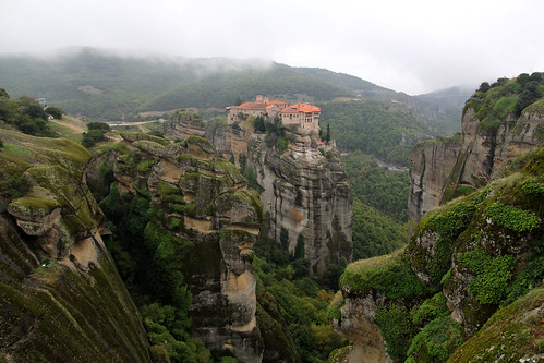 mountain green outside outdoors countryside hellas greece monastery meteora thessaly