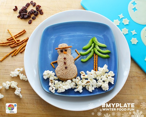 Edible MyPlate Snowman. Step 5.