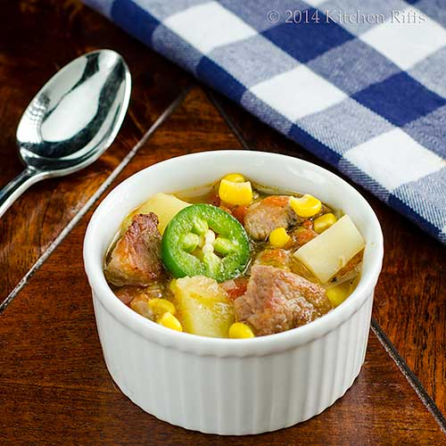 Green Chile Stew with Pork in ramekin