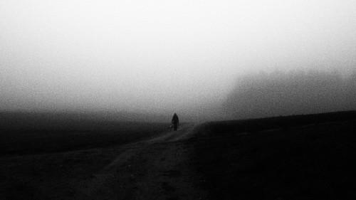 blackandwhite bw film fog dark way walking person mood nebel olympus grainy schwarzweiss dunkel stimmung weg einfach koaxial epl5 pb301058a simplicistc