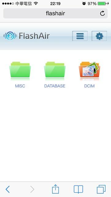 手機上管理記憶卡檔案的畫面@TOSHIBA FlashAir 無線傳輸WIFI記憶卡