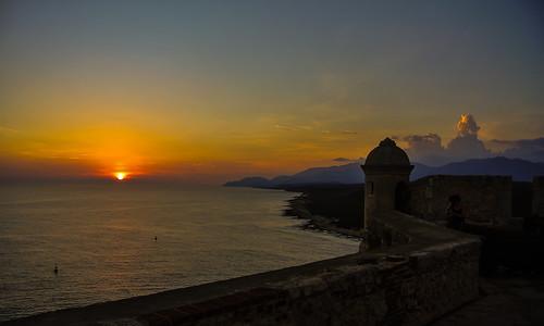 sunset sea coast meer sonnenuntergang kati fortress santiagodecuba kuba küste festung 2014 caribbeansea castillodelmorro nikon1v1 enjoyingthesunsetatcastillodesanpedrodelaroca