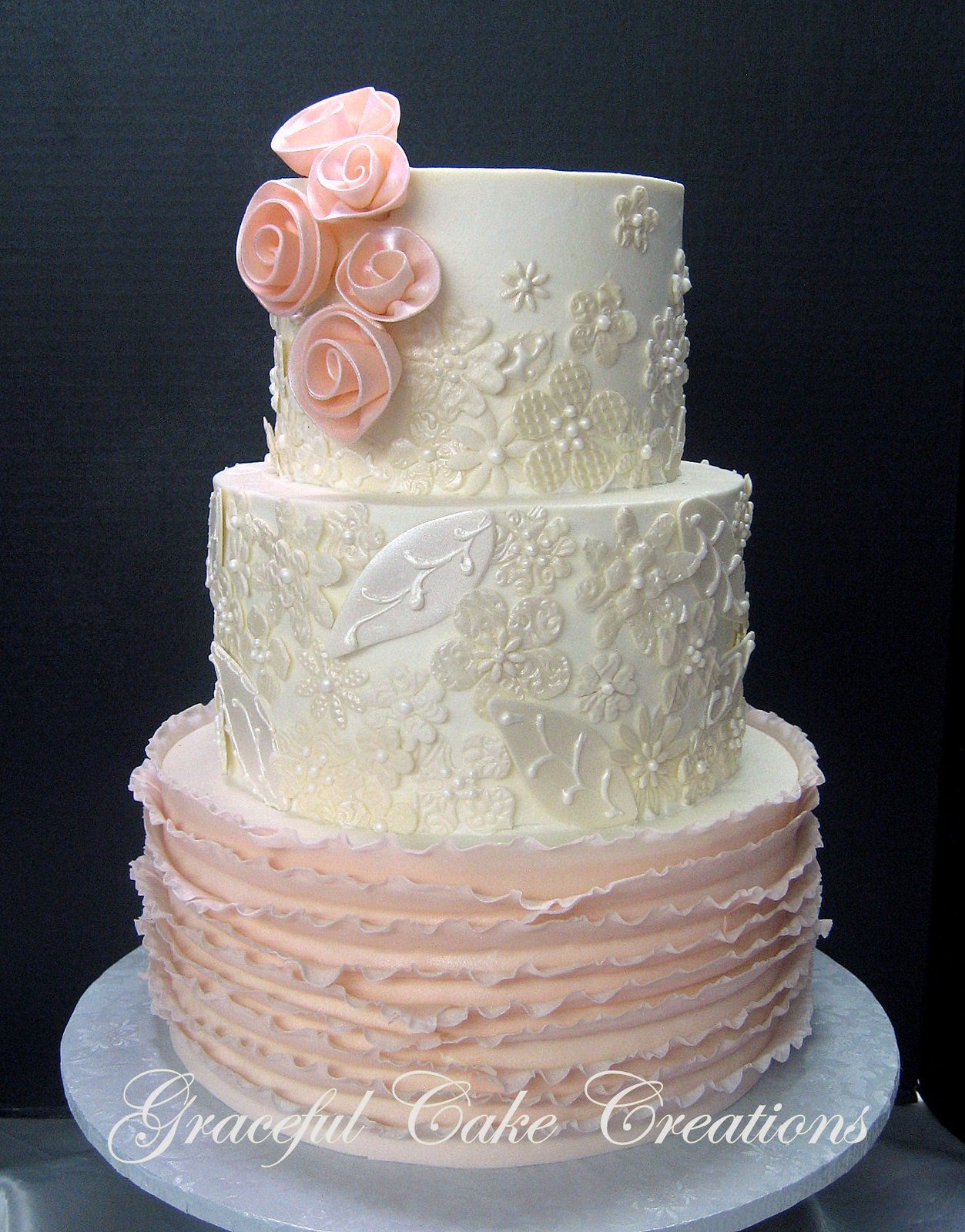 Elegant Ivory Wedding Cake with Fondant Lace Applique and