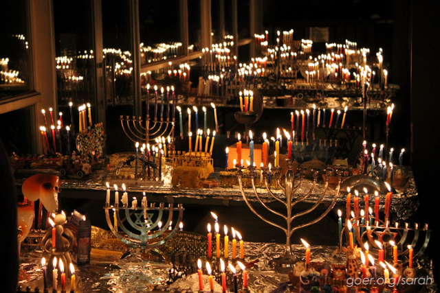 Dozens of hanukkiahs lit for the 4th night of Hanukkah.