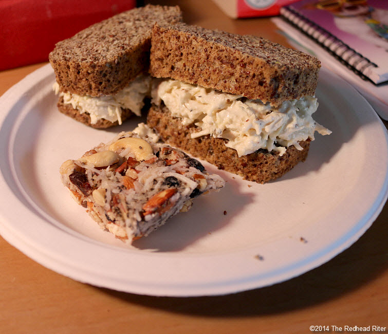 chicken salad on heart healthy bread 1 with granola bar