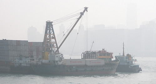 Smog obscures the industry on Hong Kong's harbour