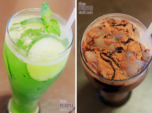 Cucumber Lime Refresher (P135) and Milo Dinosaur (P135)