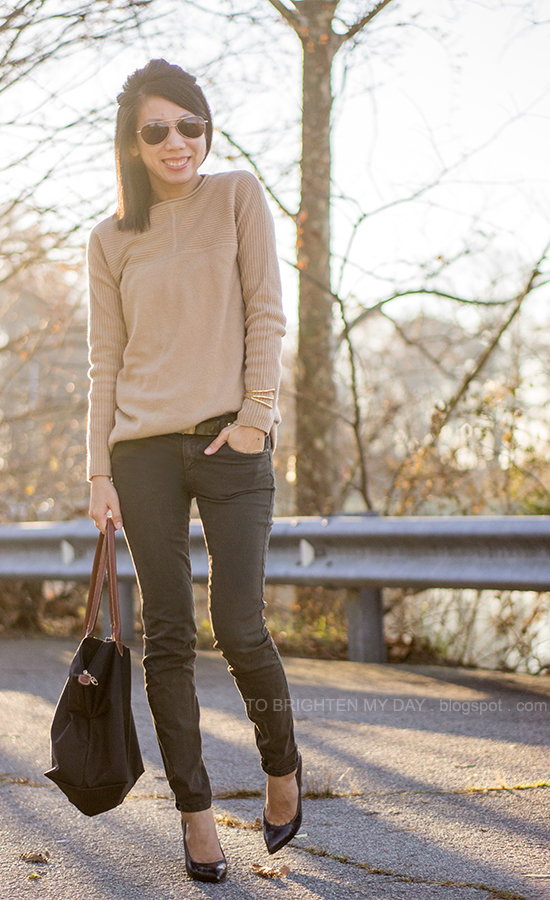 camel sweater, camo printed belt, olive pants