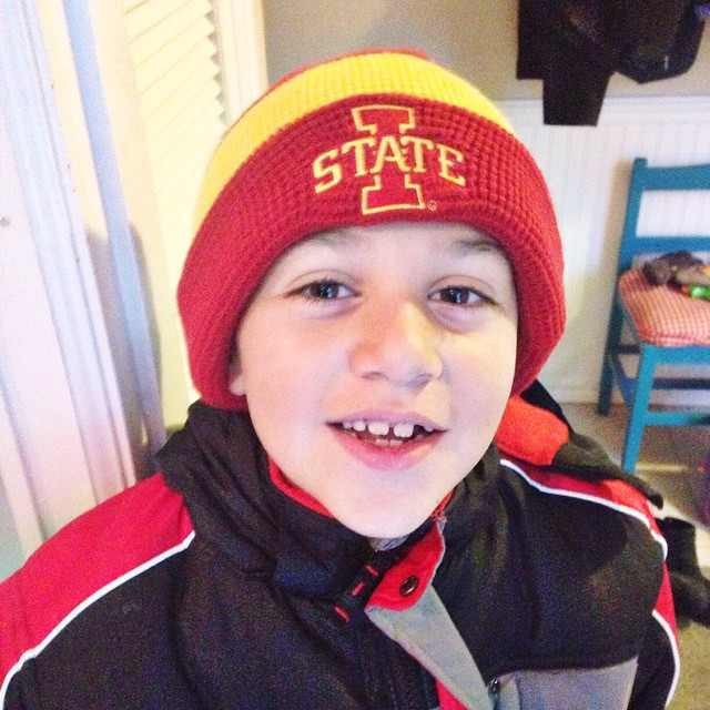 Supporting his team this morning. #owenchristopher #isu