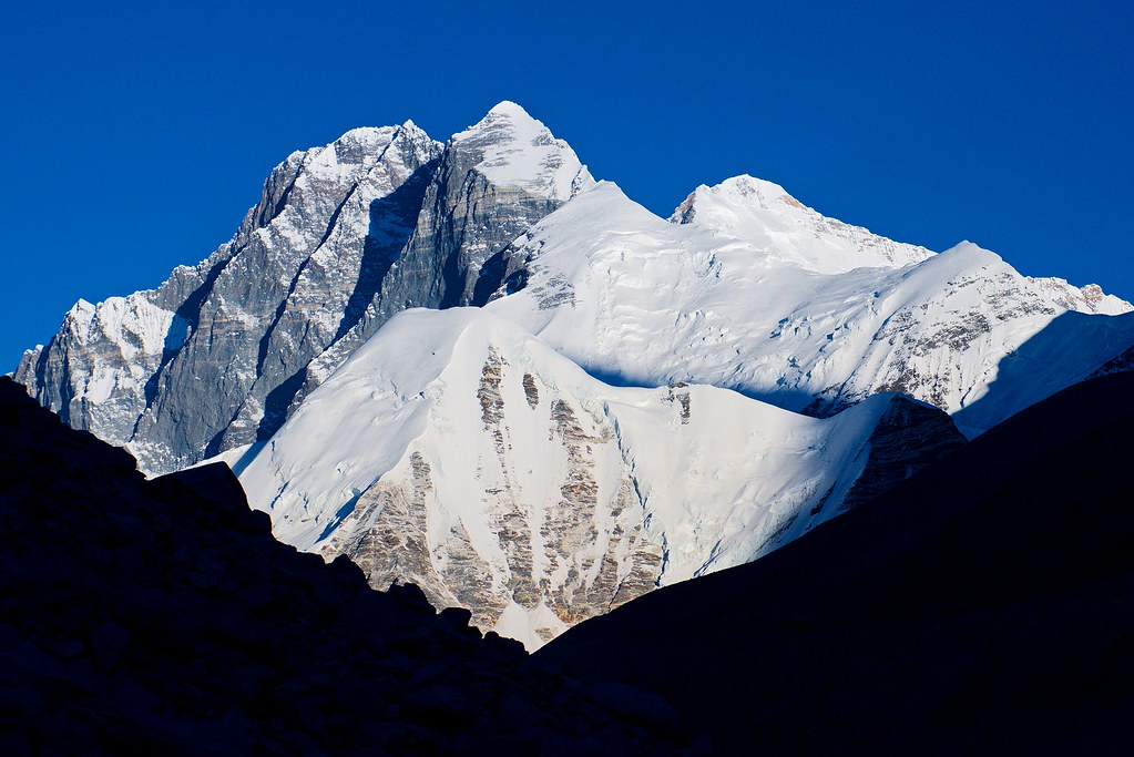 Lhotse Shar and Everest Kangshung East Face early morning from Swiss Camp, Nepal