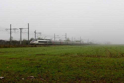 Un TGV Sud-Est carmillon s'approche de Lyon