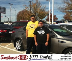 #HappyAnniversary to Juan Pedraza on your 2013 #Kia #Optima from Gary Guyette  at Southwest KIA Rockwall!