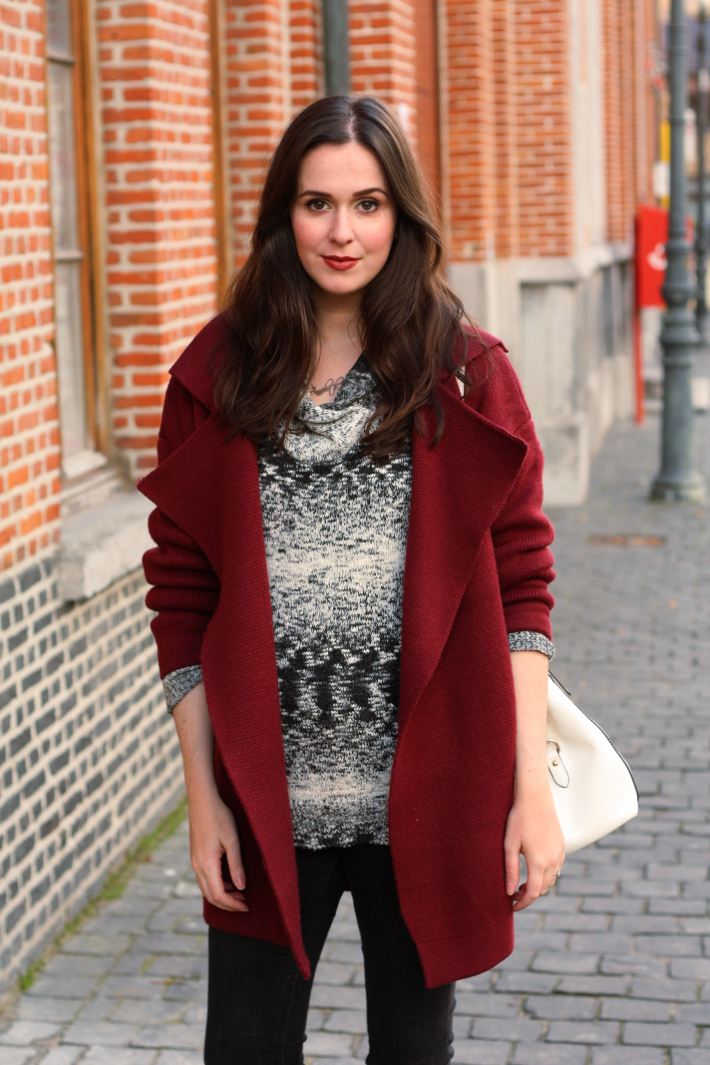 oversized burgundy cardigan, marled sweater