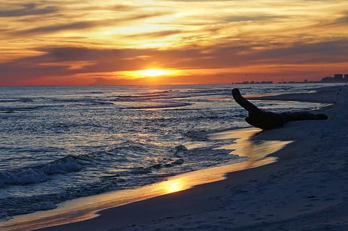 sunset gulfofmexico reflections waves florida driftwood destin santarosabeach