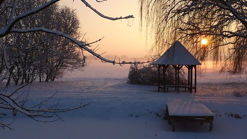 Am Stegepfuhl zeigt sich bei Sonnenaufgang der Winter von seiner schönsten Seite